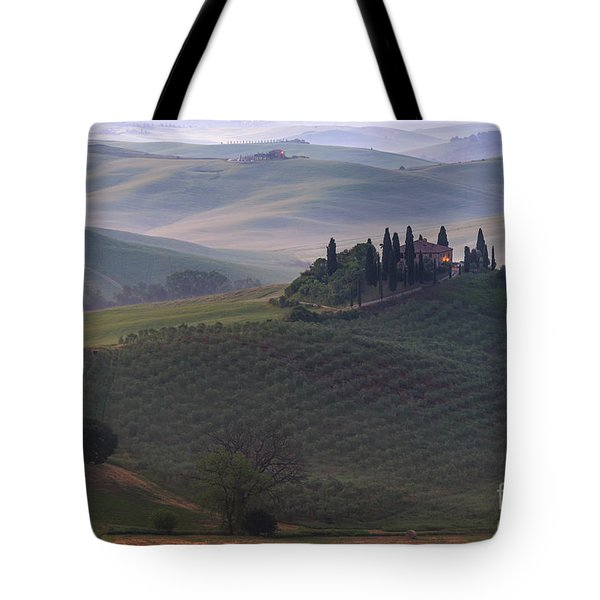 Tote Bag featuring the photograph House In Tuscany In The Morning Fog by IPics Photography