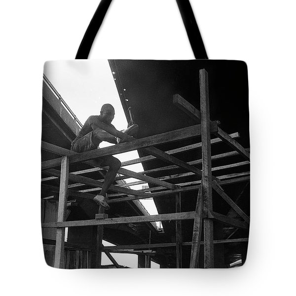 Wooden House Construction Tote Bag