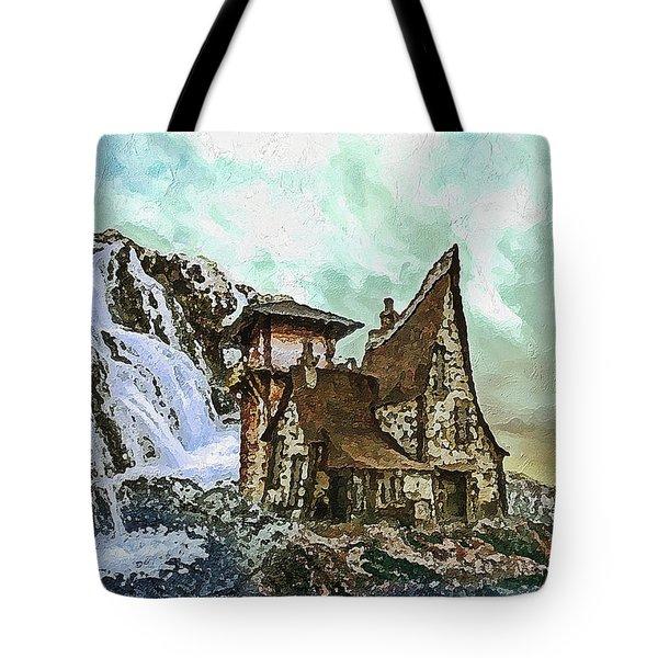 Tote Bag featuring the digital art House Near Waterfall by PixBreak Art