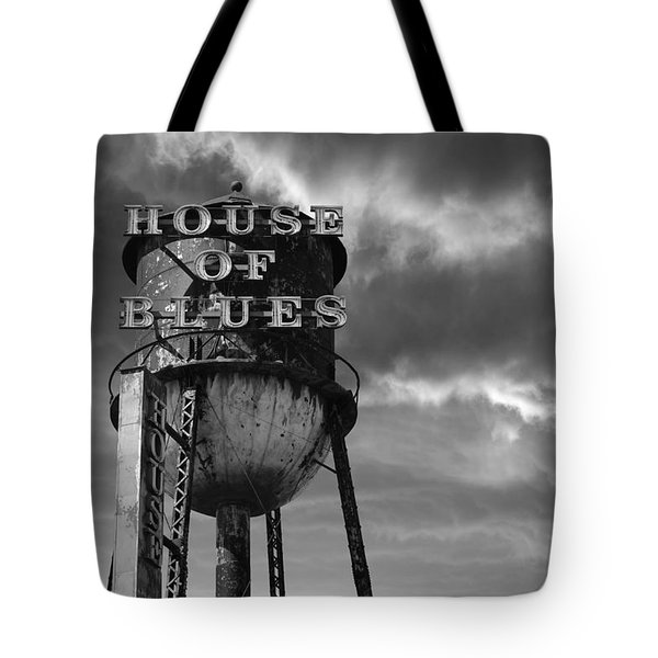 Tote Bag featuring the photograph House Of Blues B/w by Laura Fasulo
