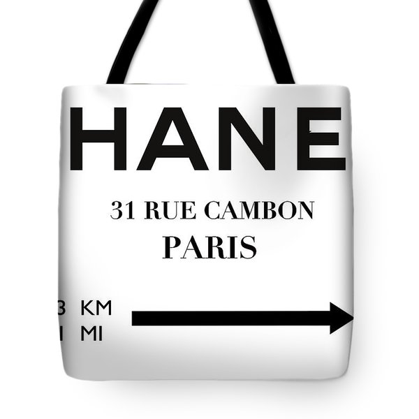 House Of Chanel, 31 Rue Cambon, New York To Paris 5843 Km 3631 Mi Tote Bag