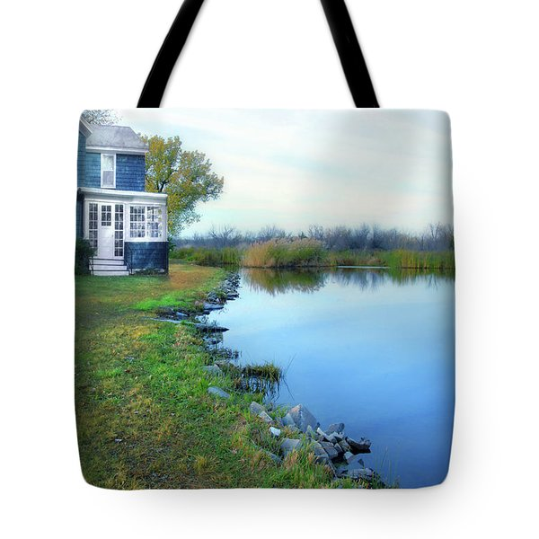 Tote Bag featuring the photograph House On A Lake by Jill Battaglia
