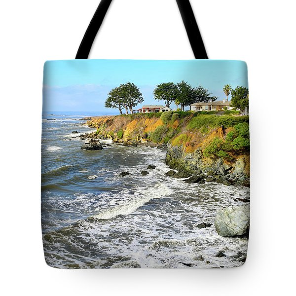 Tote Bag featuring the photograph House On The Point Cayucos California by Barbara Snyder