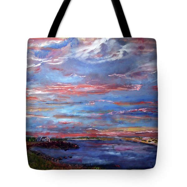Tote Bag featuring the painting House On The Point Sunset by Michael Helfen