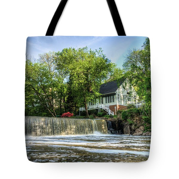 House Overlooking Waterfall Tote Bag