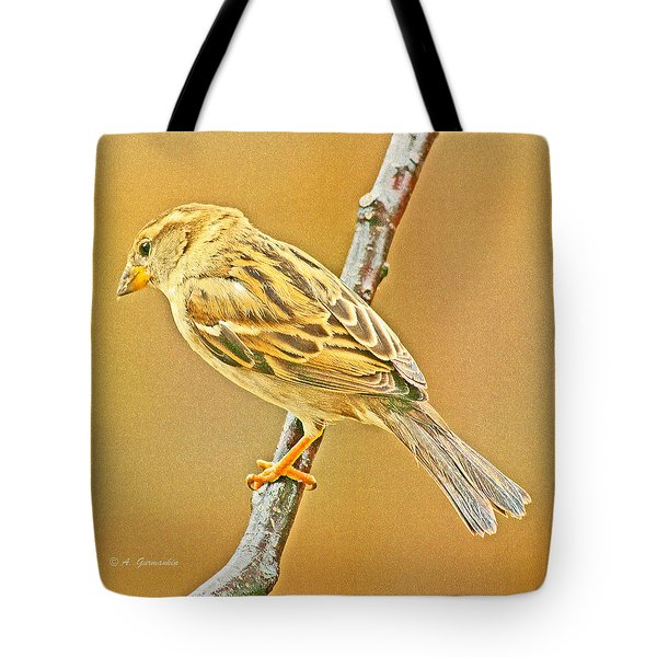 Tote Bag featuring the photograph House Sparrow by A Gurmankin