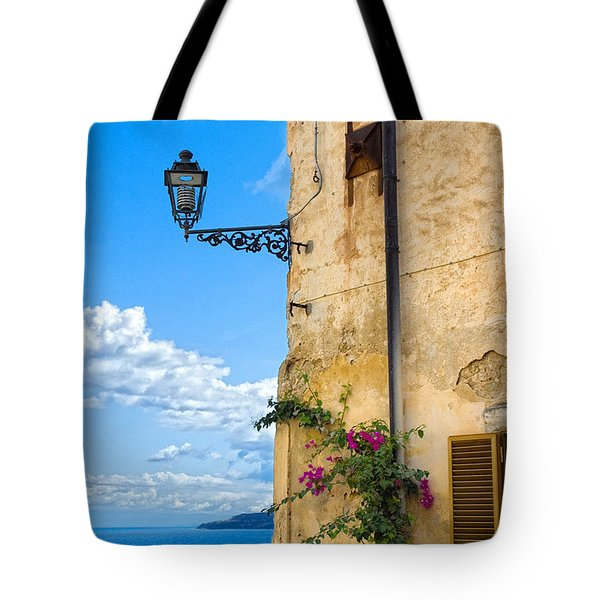 House With Bougainvillea Street Lamp And Distant Sea Tote Bag