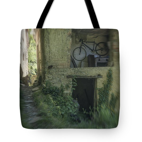 House With Bycicle Tote Bag