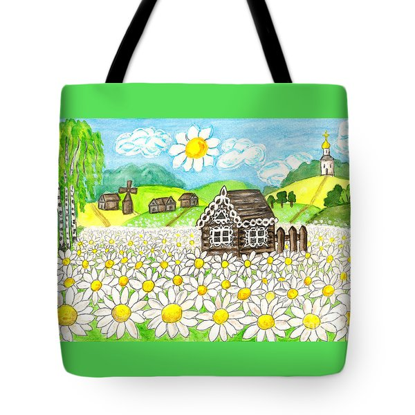 House With Camomiles, Painting Tote Bag