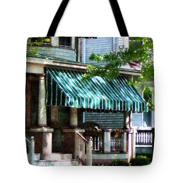 House With Green Striped Awnings Tote Bag by Susan Savad