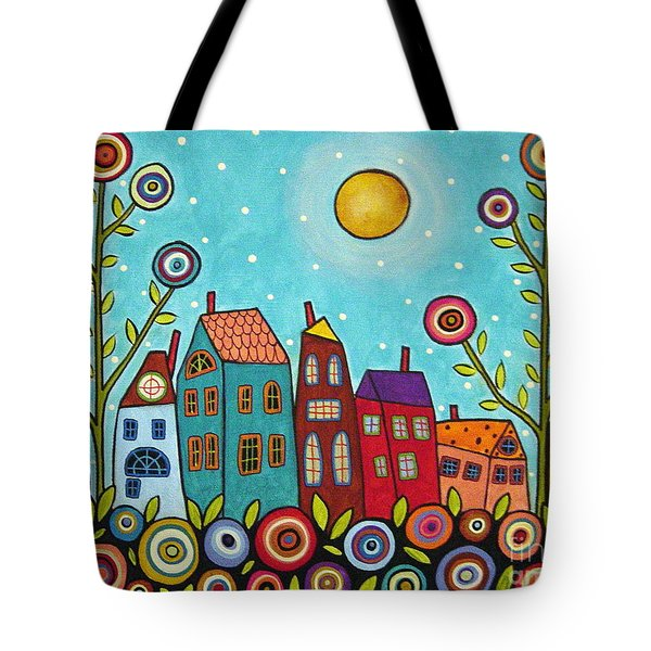 Houses Blooms And A Moon Tote Bag by Karla Gerard