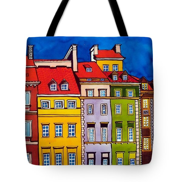 Houses In The Oldtown Of Warsaw Tote Bag by Dora Hathazi Mendes