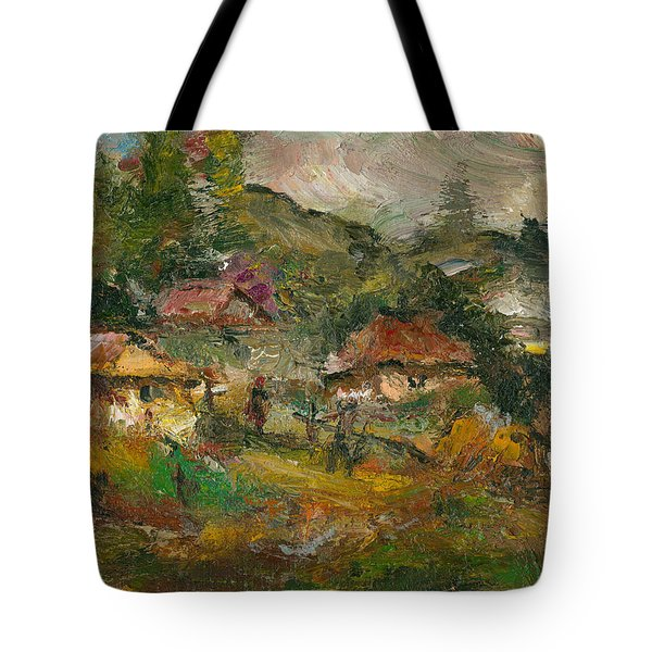 Houses With Red Roof At Iurceni Tote Bag