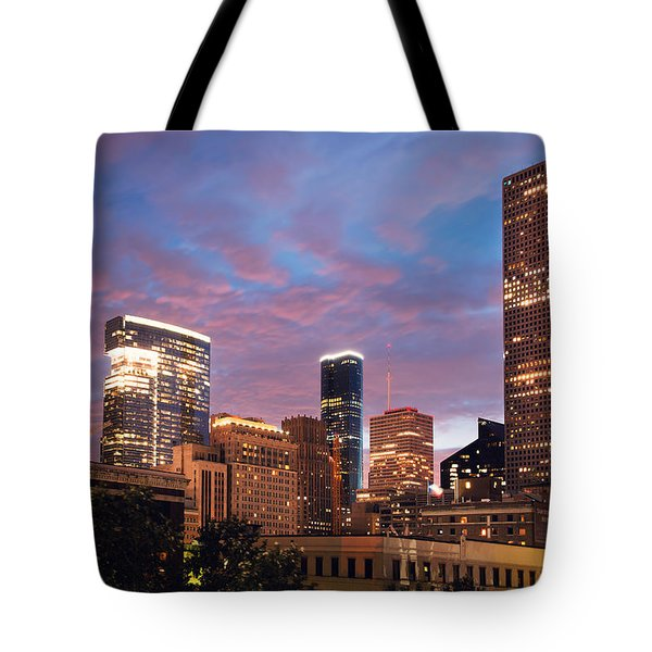 Tote Bag featuring the photograph Houston At Night by Ray Devlin