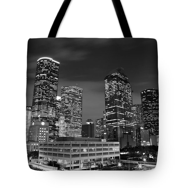 Houston By Night In Black And White Tote Bag