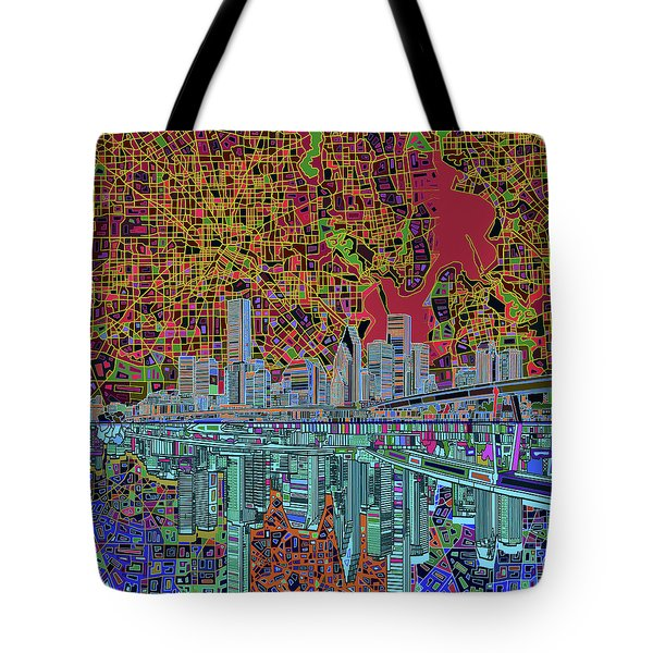 Houston Skyline Abstract 3 Tote Bag