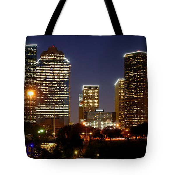 Houston Skyline At Night Tote Bag by Jon Holiday