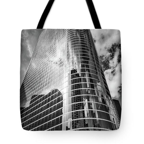 Houston Skyscraper In Black And White Tote Bag
