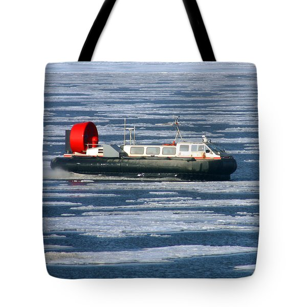 Hovercraft On Frozen Artic Ocean Tote Bag by Anthony Jones
