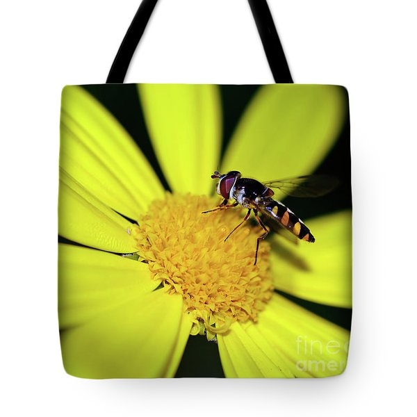 Tote Bag featuring the photograph Hoverfly On Bright Yellow Daisy By Kaye Menner by Kaye Menner
