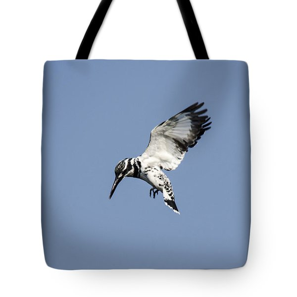 Hovering Of White Pied Kingfisher Tote Bag