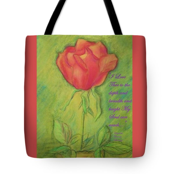 Tote Bag featuring the drawing How Do I Love Thee ? by Denise Fulmer