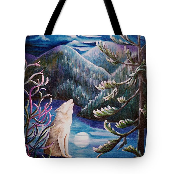 Tote Bag featuring the painting Howlin' The Blues by Renate Nadi Wesley