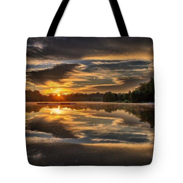 Hoyt Lake Sunrise - Square Tote Bag