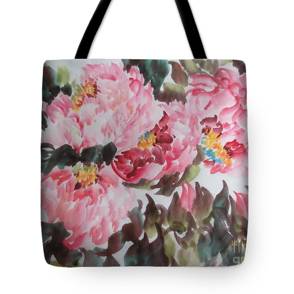 Tote Bag featuring the painting Hp11192015-0754 by Dongling Sun