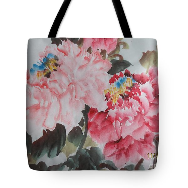 Tote Bag featuring the painting Hp11192015-0760 by Dongling Sun