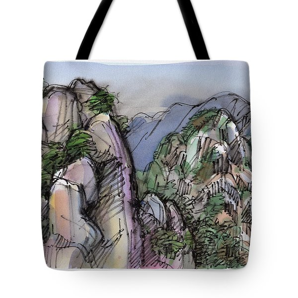 Tote Bag featuring the painting Huangshan, China by Judith Kunzle