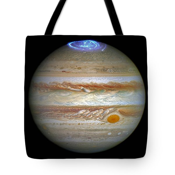 Tote Bag featuring the photograph Hubble Captures Vivid Auroras In Jupiter's Atmosphere by Nasa