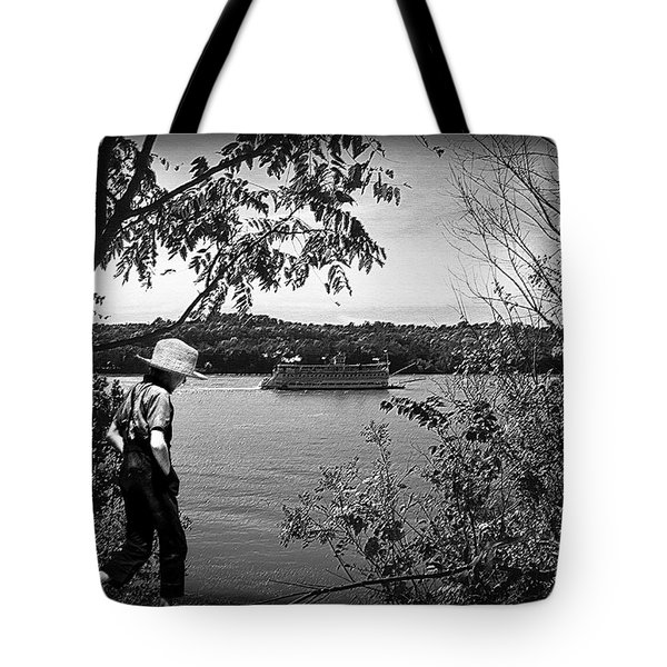 Huck Finn Type Walking On River  Tote Bag