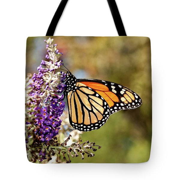 Tote Bag featuring the photograph Hues Of Autumn Monarch by Lara Ellis