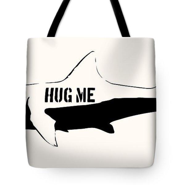 Hug Me Shark - Black  Tote Bag by Pixel  Chimp