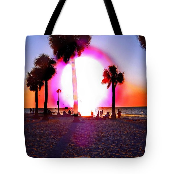 Huge Sun Pine Island Sunset  Tote Bag by Expressionistart studio Priscilla Batzell