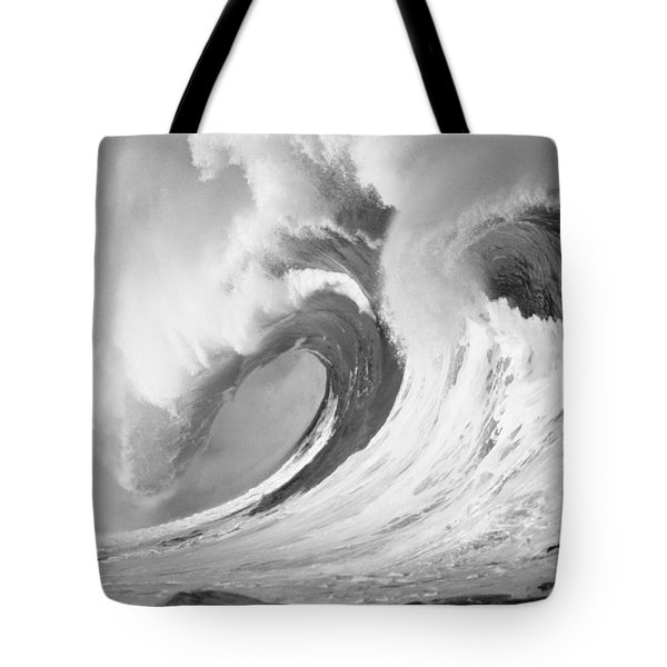 Huge Curling Wave - Bw Tote Bag by Ali ONeal - Printscapes