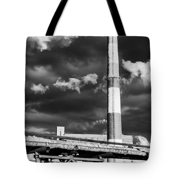 Huge Industrial Chimney And Smoke In Black And White Tote Bag
