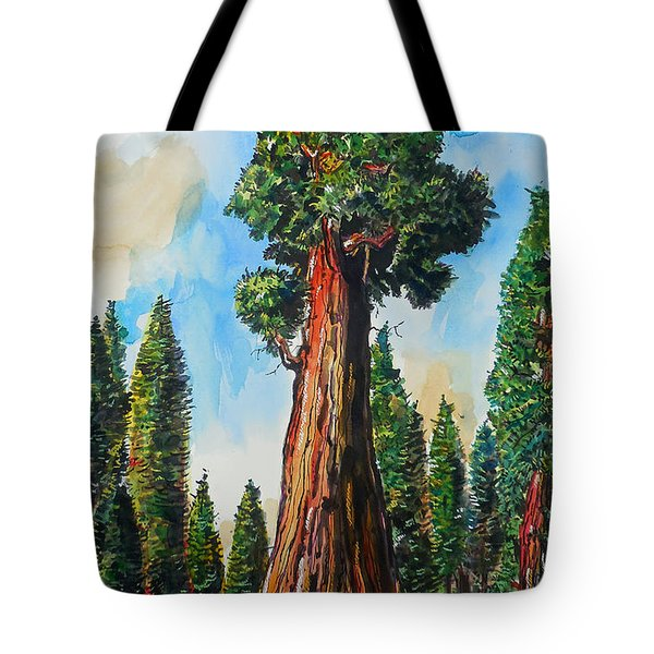 Tote Bag featuring the painting Huge Redwood Tree by Terry Banderas