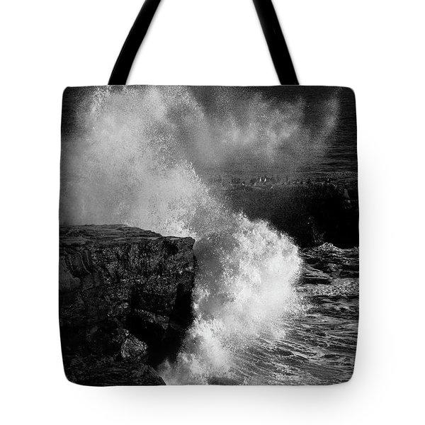 Huge Wave Breaking On The Rocks Tote Bag