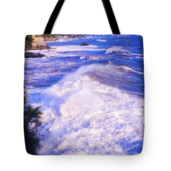 Tote Bag featuring the photograph Huge Wave In Ligurian Sea by Silvia Ganora