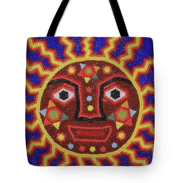 Tote Bag featuring the photograph Huichol Beadwork Sun Mexico by John  Mitchell