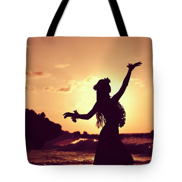 Hula Girl Is Dancing On The Sunset Beach Tote Bag