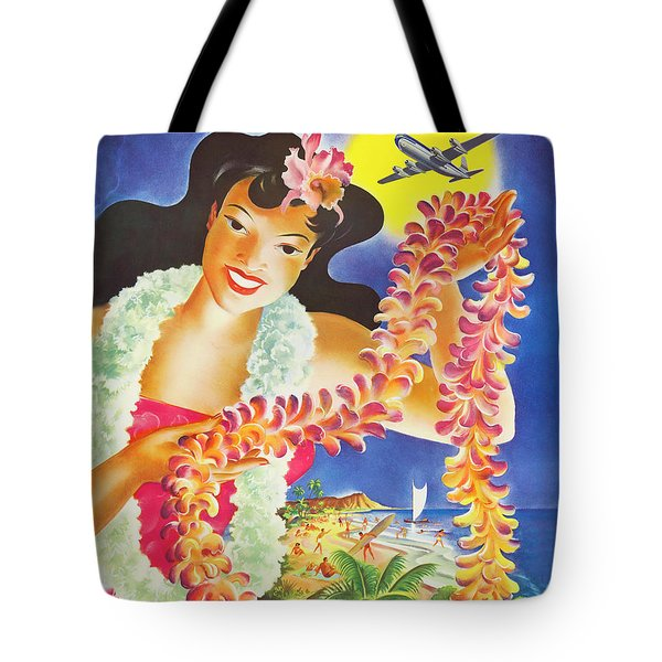 Hula Girl With Exotic Flower Wreath, Airline Vintage Poster Tote Bag