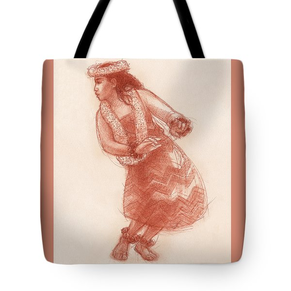 Tote Bag featuring the drawing Hula Waikoloa by Judith Kunzle