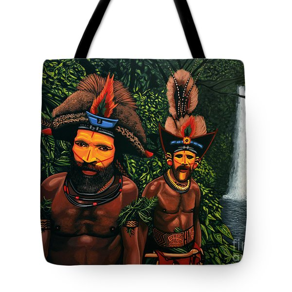 Huli Men In The Jungle Of Papua New Guinea Tote Bag