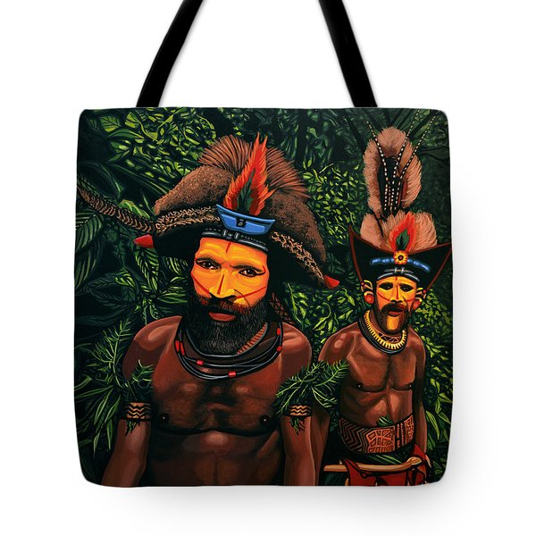 Huli Men In The Jungle Of Papua New Guinea Tote Bag by Paul Meijering