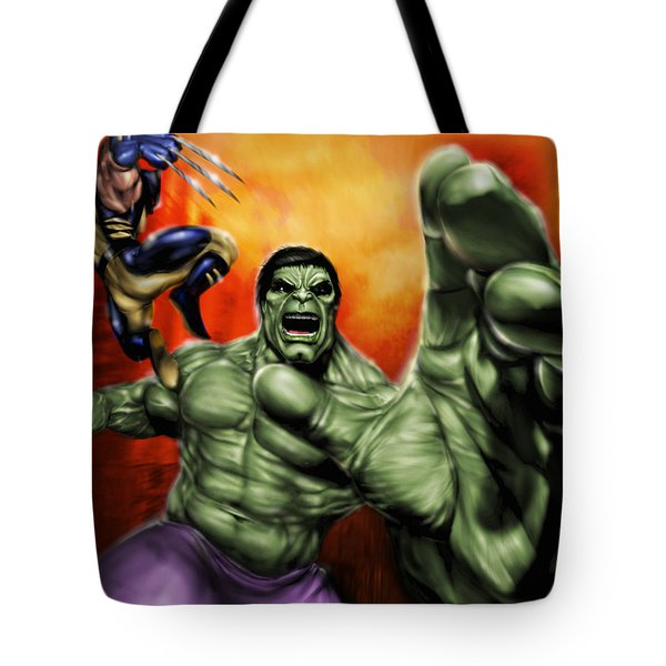 Tote Bag featuring the painting Hulk by Pete Tapang