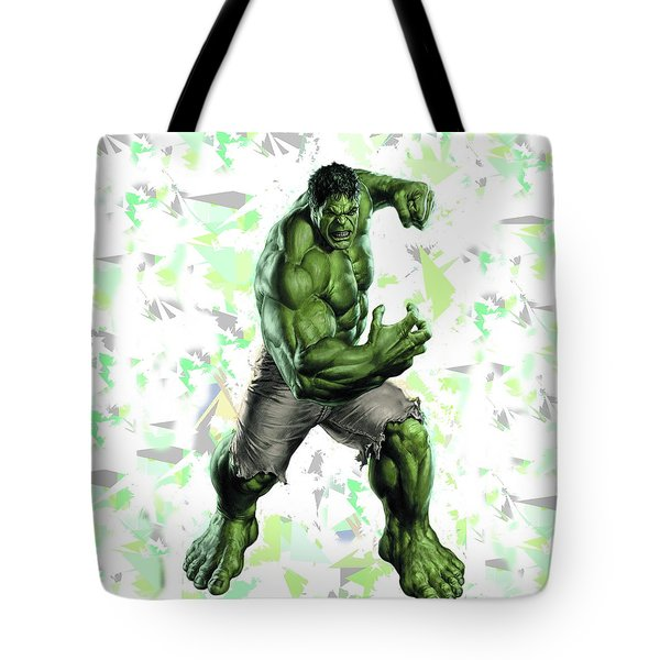 Tote Bag featuring the mixed media Hulk Splash Super Hero Series by Movie Poster Prints