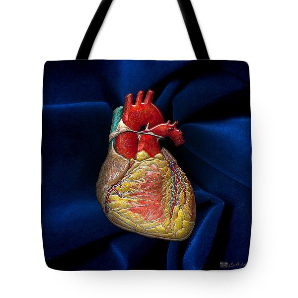 Human Heart Over Blue Velvet Tote Bag